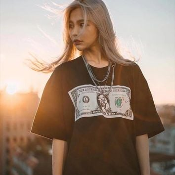 New Korean version of loose, simple, short sleeved T-shirt, dollar print student jacket