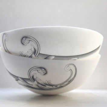 Stoneware fine bone china bowl with a black illustration - illustrated ceramics