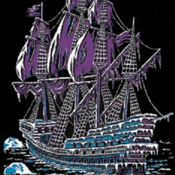 Ice Ship Pirate Boat Felt Black Light Poster 23x35