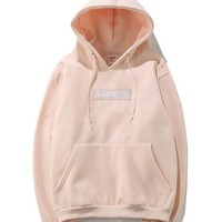 Supreme Fashion Loose Pullover Hooded Sweater Pink