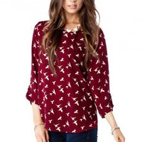 Bateau Neck Blouse in Sparrow - ShopSosie.com