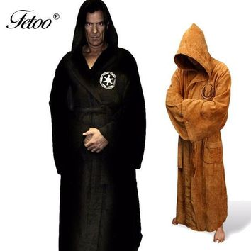 ESBONQK Flannel Robe Male With Hooded Star Wars Dressing Gown Jedi Empire Long Thick Men's Bathrobe Nightgowns Mens Bath Robe Winter P30