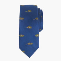 crewcuts Boys Silk Tie In Embroidered Dinosaurs