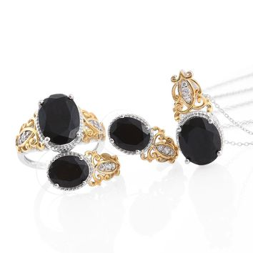Black Tourmaline & Zircon Matching J-Hoop Earrings, Ring, and Necklace