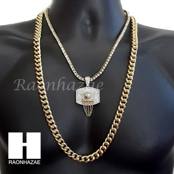 "HIP HOP BASKETBALL HOOP CHARM 16""-30"" TENNIS CHOKER 30"" CUBAN CHAIN NECKLACE G24"