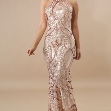 Hollywood Glam Sequin Maxi Party Dress - Blush