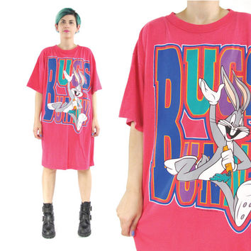 90s Bugs Bunny Tshirt Dress Looney Tunes Tshirt Bright Pink Tee Vintage Graphic Tshirt Pajama Top Short Sleeve Tshirt Dress (M/L/XL)