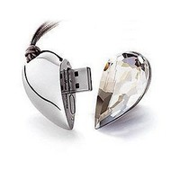 8GB Shiny Crystal Heart Shape USB Flash Drive with Necklace(clear)