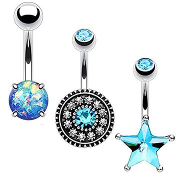 BodyJ4You 3PC Belly Button Ring Set Aqua Star Flower Created-Opal 14G Surgical Steel Curved Navel Barbell