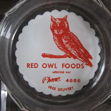 Red Owl Foods Ashtray, Red and White,  Vintage from Medicine Hat Alberta, Promotional Ashtray, Advertising Ashtraytray  Vintage Ashtray