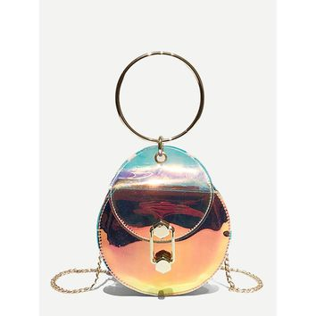Iridescent Round Bag With Ring Handle