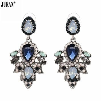 JURAN New Luxury Accessories Crystal Charm Handmade Drop Earrings For Women Shiny Pendients Brincos Girls Fashion Wedding Gifts