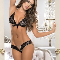 Lace Satin Bra & Panty Set