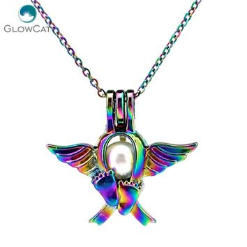C697 COLORS lovely Angel Baby Foot Beads Cage Necklace Pendant Aroma Essential Oil Diffuser Locket Necklace