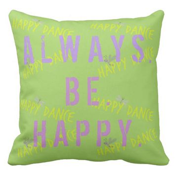 Changeable color positive affirmation expression throw pillow