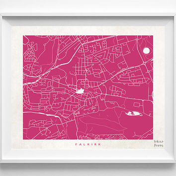 Falkirk Print, Scotland Print, Falkirk Poster, Scotland Poster, Decor Idea, Home Town, Giclee Print, Nursery Wall Decor, Halloween Decor
