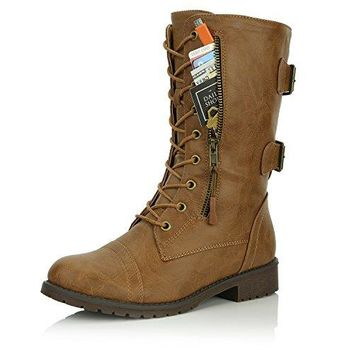 DailyShoes Women's Military Lace Up Buckle Combat Boots Mid Knee High Exclusive Credit Card Pocket, Slim Tan, 13 B(M)