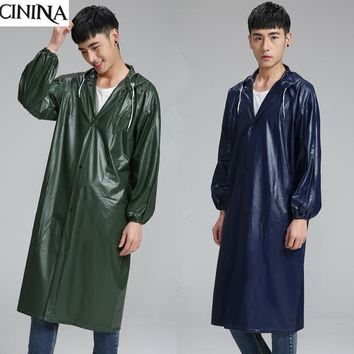 High elasticity PVC long raincoat Thicker men and women adult outdoor coat Big coat poncho Outdoor travel cloth free shipping