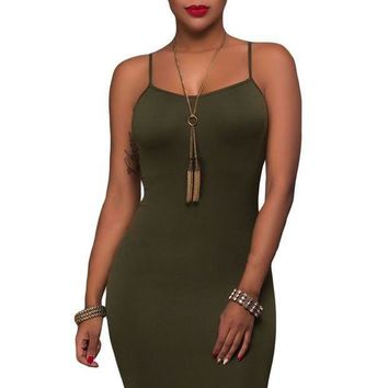 PEAP78W Army Green Seamless Bodycon Dress