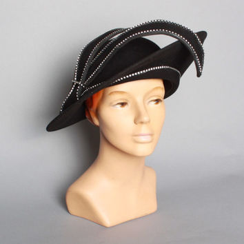 70s BLACK Jack McConnell HAT / Glam RHINESTONE Trim Sculpted Wool