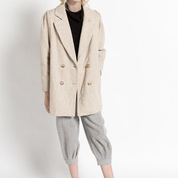 Vintage 80s Ivory and Tan Striped Structured Wool Coat | M