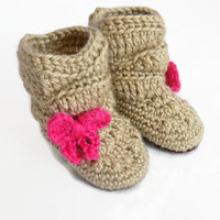 Baby Booties, Brown Baby Boots, Slouch Boots, Baby Girl Booties