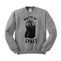 Waste Of Space Crewneck Sweater, Space Grunge Girl, Pastel Goth, Tumblr Aesthetic, Teen Gift Shirt, Zodiac Shirt, trash Can Shirt