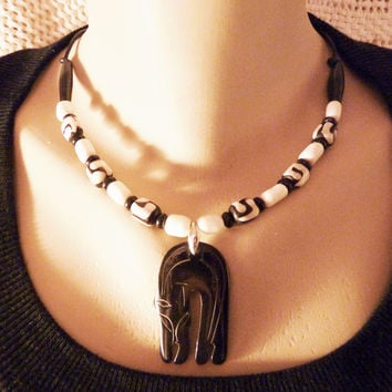 Black Panther Horn Pendant African Batik Bone and Sterling Necklace