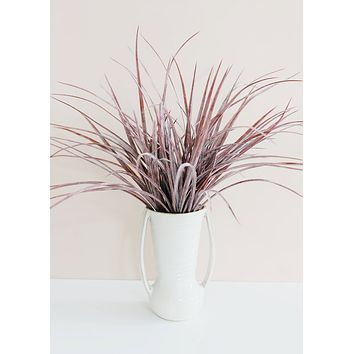 """Fake Indoor/Outdoor Grass Bush in Dusty Eggplant - 19"""" Tall"""