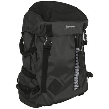 "Manhattan 15.6"" Zippack Heavy-duty Top-loading Backpack (black And Black)"