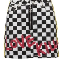 Call Me Checkered Denim Mini Skirt with Graffiti Design