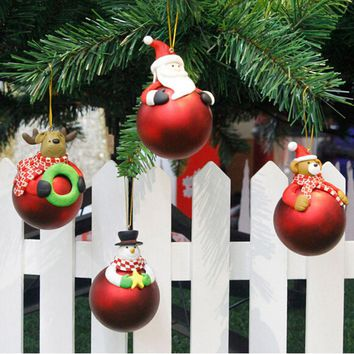 2018 Christmas Tree Decoration Cute Santa Claus Snowman Ornament Shape Xmas Tree Baubles Hanging Festival Gift #BF