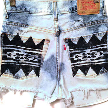 Tribal Aztec Print High Waisted Denim Shorts Women's Clothing Hipster Jeans Summer Distressed Shorts Coachella Music Festival Wear Tumblr