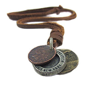 S&E Men's Vintage Style Three Coins Pendant Genuine Cow Leather Necklace Chain Cowboy Jewelry