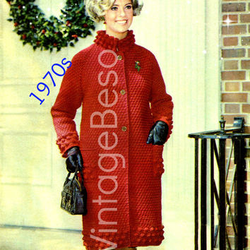 Instant Download - Simple Coat Crochet Pattern - Vintage 1970s - Popcorn Border - Christmas Valentines Day Holiday Social Date - PDF Pattern