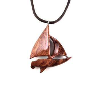 Sailboat Necklace, Sailboat Pendant, Wood Boat Pendant, Boat Jewelry, Boat Necklace, Yacht Necklace, Nautical Jewelry, Sailboat Wood Jewelry