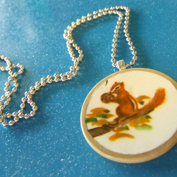 Sweet Squirrel Necklace - Vintage Ephemera Illustration - Game Piece Poker Chip - Bakelite Poker Chip - Off White Cream Slate Poker Chip