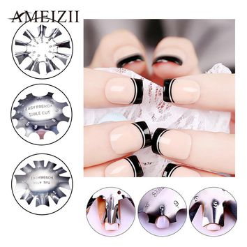 AMEIZII Easy French Line Edge Smile Cutter Nail Stencil Edge Trimmer Tips Design Mould Nail Manicure Nail Art Styling Tool Set