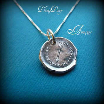 Arrow Wax Seal Necklace Fate Fickle by PlumAndPoseyInc on Etsy