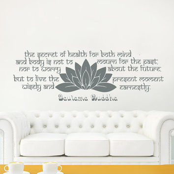 Wall Decals Quotes Vinyl Sticker Decal Home Decor The secret of health Buddha Quote Wall Decal Lotus Flower Namaste Yoga Mandala Bedroom #23