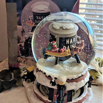 Harley Davidson Holiday Collectible Water Tower Rotating Snow Dome