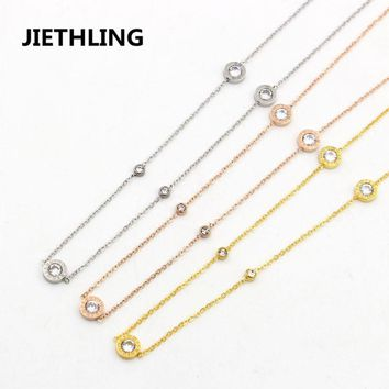 Famous Brand Jewelry Design Three Roman Numerals Round Zircon Crystal Link Chain Gold Necklaces For Ladies Womens Best Gifts
