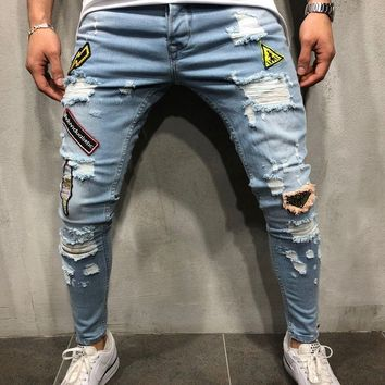 Ripped Embroidery Patched Jeans - Blue