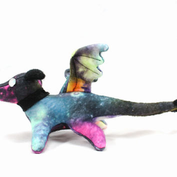 Galaxy Print Cosmic Space Dragon Stuffed Animal Plush Toy Beanie Style