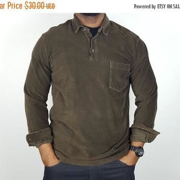SALE L Vintage 90s Polo Ralph Lauren Long Sleeve Shirt / Brown Polo Shirt / Stretch Co
