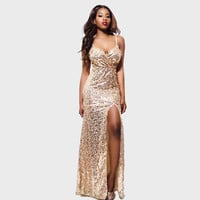 Gold Sequin Maxi Dress 2016 Latest Design V-neck Spaghetti Strap High Split sexy Gold Long Dress Prom Ball Gown Party Dress