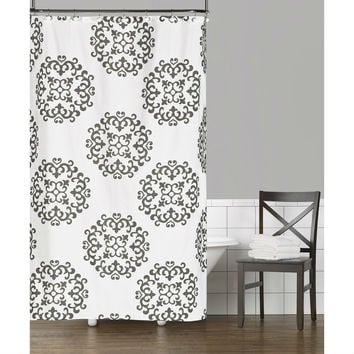 100-percent Cotton Fabric Shower Curtain with Damask Pattern