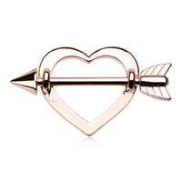 Rose Gold Cupid's Heart Nipple Shield Ring