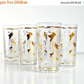 ON SALE 1960s Cocktail Glasses Set Mid Century Libbey Glassware Frosted Gold Leaves Highball Barware Tumblers