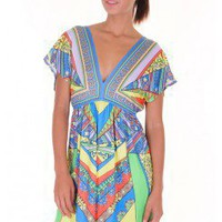 BLUE ETHNIC PRINT KIMONO KNIT DRESS @ KiwiLook fashion